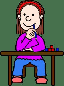 Smiling girl at desk